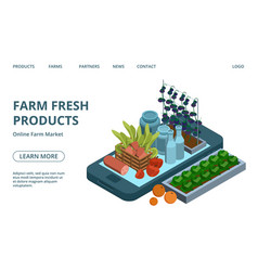 online farm products web page template vector image