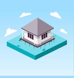 Overwater bungalow in ocean isometric vector