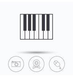 Piano web camera and photo camera icons vector image
