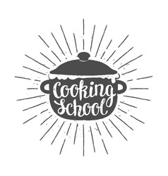 pot silhoutte with lettering - cooking school vector image