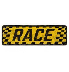 Race vintage rusty metal sign vector