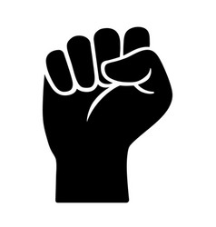 Raised fist - courage strength or power icon vector