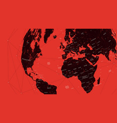red political map of the world flat vector image