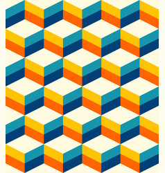 retro 3d cubes pattern teal vector image