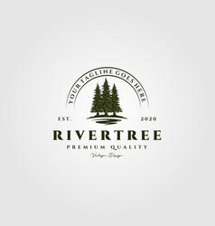 River pine tree vintage logo design vector