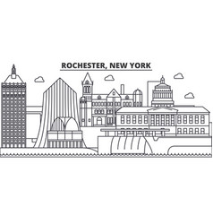 rochester new york architecture line skyline vector image