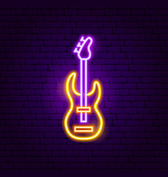 Rock guitar neon sign vector