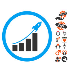 rocket startup bar chart icon with love bonus vector image