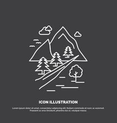 rocks tree hill mountain nature icon line symbol vector image
