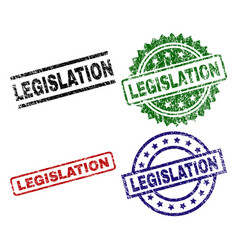 Scratched textured legislation stamp seals vector