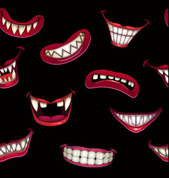 Seamless pattern with creepy monster smiles vector