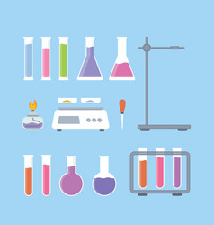 set collection laboratory science tools with vector image