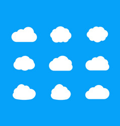 set flat cloud icons vector image