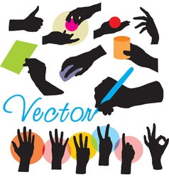 set hands silhouettes vector image