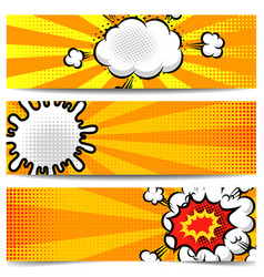 set of banner templates in comic style for poster vector image