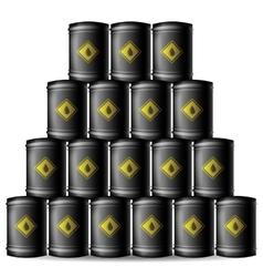Set of Black Metal Oil Barrels vector image
