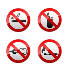 Set prohibited signs - flames vector