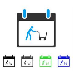 Shopping cart calendar day flat icon vector