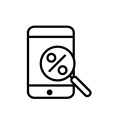 smartphone discount magnifier delivery icon thick vector image