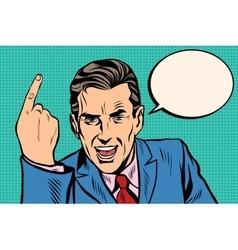 speaker businessman pointing finger pop art retro vector image