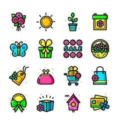 spring season sale icons set vector image