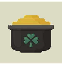Stylized shiny cartoon pot of gold with a green vector image