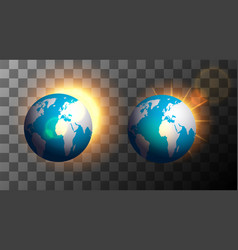 sunrise over earth on a transparent background vector image