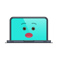 Surprised laptop computer isolated emoticon vector