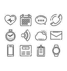 thin line icons fitness tracker technology data vector image