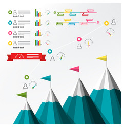 timeline infographic infographics with mountains vector image