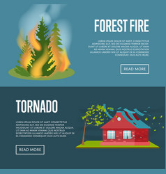 Tornado and forest fire banners vector