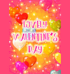 valentine background with heart balloons vector image
