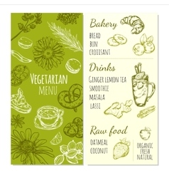 Vegetarian Menu Sketch Template vector