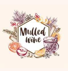 Vintage background with mulled wine and spices vector