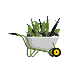 wheelbarrow and weapons ammunition in garden vector image