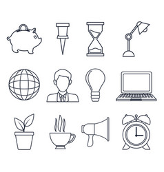 White background with silhouette set icons growth vector