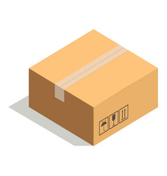 closed paper cardboard box isolated on white with vector image