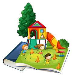 Giant book with children playing at playground vector image