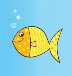 gold cartoon fish vector image vector image