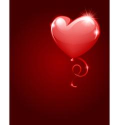 heart as balloon with ribbon vector image