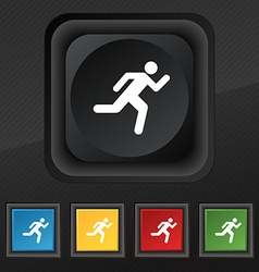 running man icon symbol Set of five colorful vector image vector image