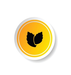 sticker in yellow color with plant vector image vector image