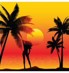 girl on beach vector image vector image