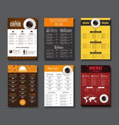set a4 menu for cafes and restaurants vector image vector image