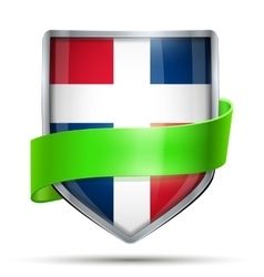 Shield with flag Dominican Republic and ribbon vector image vector image