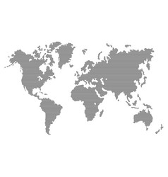 striped gray world map on white background vector image vector image