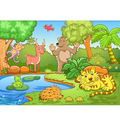 animals in forest vector image vector image