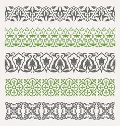 Decorative seamless ornamental borders set vector image