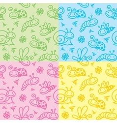hand drawn patterns with insects vector image vector image