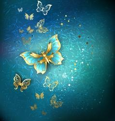 Luxury gold butterflies vector